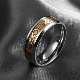 Wholesale 316l Wedding Band - Valentine's day Dragon 316L stainless steel Ring Mens Jewelry Wedding Band male ring for lovers