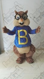 Wholesale Squirrel Mascot Costumes - Wholesale-Small blue coat black glasses squirrel cartoon mascot costume