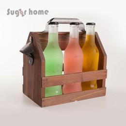 Wholesale funny wine bottles - Bar Tool Stainless Steel Beer Bottle Opener Funny Wooden Wine Baskets Beer Caddy