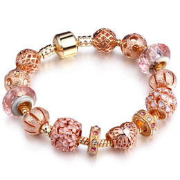 Wholesale Pandora Bracelet Gold - high quality rose gold pandora bracelets charms European diy bangle bracelets women gift for lovers girlfriends