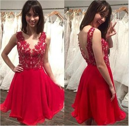 Wholesale Short Chiffon Beaded Cocktail Dress - 2017 New Red Crew Neck Backless Homecoming Dresses Sweet 16 Lace Bodice Beaded Cheap Chiffon Cocktail Dresses Short Prom Dresses
