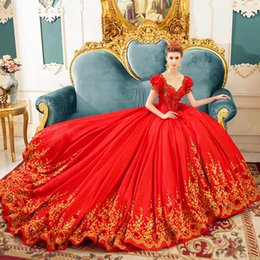 Wholesale Dresses Woman Princess - Luxury Princess Red Wedding Dresses 2017 Beaded Embroidery Chapel Train With Sleeves Corset Bridal Gowns Women Marriage Dresses