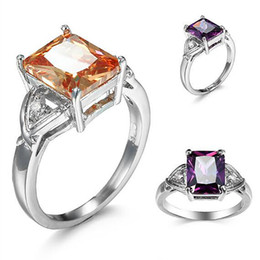 sterling silver black cubic zirconia Promo Codes - 10pcs Unique Christmas Gifts Fire Morganite Amethyst Cubic Zirconia Crystal Gemstone Russia 925 Sterling Silver Black Gold Wedding Rings