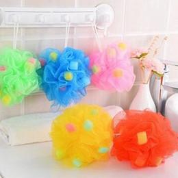 Wholesale Mesh Bath Pouf - Mesh Pouf Sponge Bathing Spa Shower Scrubber Ball Colorful Bath Brushes Sponges Summer bathing large color bath ball free shipping HK82