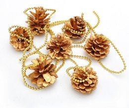 Wholesale Solid Gold Beads Wholesale - 5pcs Pinecone Gold Pearl Beads Chain Ornaments Strap Garland Christmas Tree Holiday Venue Decoration
