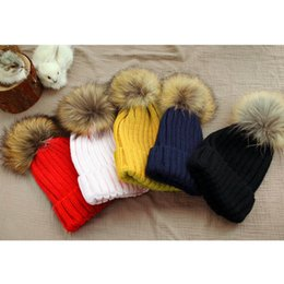 Wholesale Leather Berets - Fashion Raccoon Fur Ball Baby Hat Winter Tight Knitted Fur Hat Toldder Girls Cap Headgear Headdress Head Warmer Berets with 4 Colors