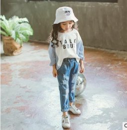 Wholesale Girls Legging Jeans - Girls cowboy pants kids cotton Hole Jeans children double-pockets Denim trousers Autumn girls elastic waist straight leg casual pants G1508