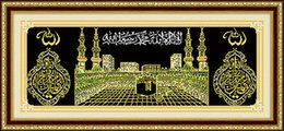 Wholesale Canvas Paste - Ismamic muslim 5d diamond embroidery paintings rhinestone pasted diamond mosaic craft islam Religion Needlework embroidery cross stitch