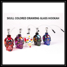 Wholesale Colored Plastic Glasses - 2016 Newest Skull Ghost Head Glass Bong Set Colored Drawing Glass Hookah Bongs with Long Plastic Pipe Sharpstone Mini Smoking Pipe DHL Free