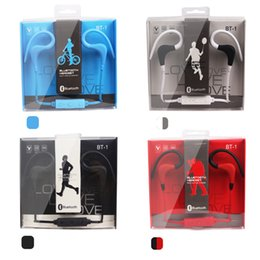 Wholesale Bluetooth Earphones For Cellphones - bt1 BT-1 Tour Earphone Bluetooth Sport Earhook Earbuds Stereo Wireless Neckband Headset Headphone with Mic for Universal Cellphone EAR230
