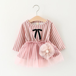 Wholesale Baby Tutu Grey - Autumn Baby Girls Dresses Bowknot Lace Vertical Striped Dress For Babies Girl Long Sleeve Cotton Kids Party Baby Dress Grey Pink A7371