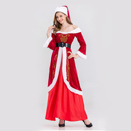 Wholesale Santa Sexy Outfits - 2017 Red Christmas Dress Sexy Women Santa Clothes Xmas Office Party Outfit Costume Fancy Party Outfit Fast Shipping