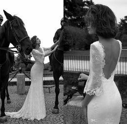 Wholesale Beach Wedding Dresse - Liz Martinez Wedding Dresses 2016 Vintage Western Style Bridal Gowns Deep V Neck Empire Waist Sweep Train Sexy Backless Lace Wedding Dresse