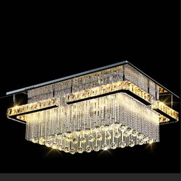 Wholesale Luxury Chandeliers For Dining Rooms - NEW modern luxury Pandant light rectangular LED K9 crysal chandelier ceiling mounted crystal fixutres foyer chandeliers for living room