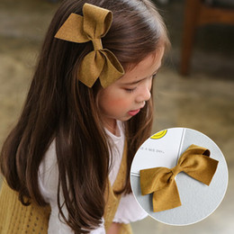Wholesale Kid Handmade Hairpin - Kids barrettes Girls handmade cloth bows hair clips fashion children all-matched bows hair pins princess hair accessories C2225