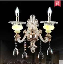 Wholesale Golden Crystal Wall Lamp - Europe Zinc Alloy Marble Double Golden Sweet Crystal Sitting Room Corridor Balcony Wall Of Bedroom The Head Of A Bed Lamp @-9