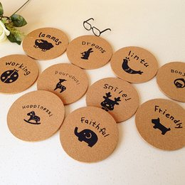 Wholesale Wood Placemats - Wholesale- 2015 New Direct Chocolate Placemat Placemats Home Decor Wood Coaster Mats Sets Eco-friendly Round Shape Cup Drink For Kids