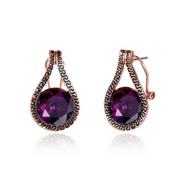 Wholesale Gemstone Stud Earrings For Women - New Design Gemstone Jewelry 18K Rose Gold Plated Classic Rectangle L Size Purple Diamond Stud Earring Fashion Christmas Gift For Women