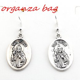 """Wholesale San X Wholesale - Hot ! 24 pair Antique silver """"SAN JUDAS"""" Charms Earrings With Fish hook Ear Wire 16 X 42mm"""