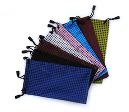 Wholesale Eyeglass Pouches Wholesale - Pouch Soft eyeglasses bag Glasses case Waterproof cloth sunglasses mobile phone bag jewelry bag High quality many colors mixed 18cmX9cm