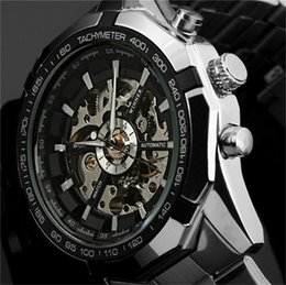 Wholesale Winner Steel Watches - 2016 Fashion Brand Winner Stainless Steel Self Wind Automatic Mechanical Men Watch For Men sports Wristwatch DISCOUNT! Wholesale