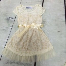 Wholesale Country Clothes Wholesale - Lace Flower Girls Dresses with Solid Print Girls Dresses for Summer Lace Girls Clothes Girls Country Clothing