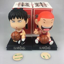 Wholesale Slam Dunk Anime - Hot sale anime figure pvc toys Q ver SLAM DUNK Hanamichi Sakuragi Rukawa Kaede Shake head boxed 12CM gift for children
