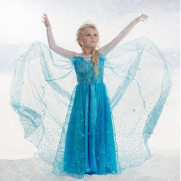 Wholesale Cape Dresses - Samgami baby elsa frozen fever dress blue snowflake dress long cape dress elsa queen costume free shipping in stock