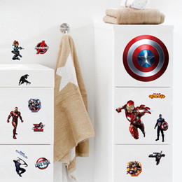 Wholesale Marvel Wall Stickers Wholesale - The Avengers Cartoon DIY Captain America Wall Stickers For Kids Rooms Marvel Super Hero Wall Decals Computer sticker Boys Gift