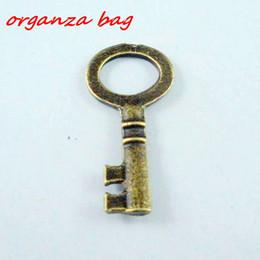 Wholesale Bronze Skeleton Charm - Hot ! 100 Pcs Antiqued Bronze Color Vintage Simple Skeleton Key Alloy Pendant Charm 23X11mm b60
