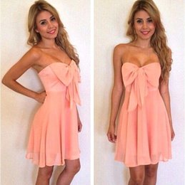 Wholesale Cheap Bow Chiffon Short Prom - 2018 Cheap Light Coral Chiffon Homecoming Dress Sweetheart Ruffles Zipper Back Short Knee Length Cocktail Prom Dress