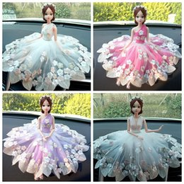 Wholesale Handmade Gifts For Newborn Babies - Creative handmade Barbie than dolls car ornaments car cute decoration fashion wedding doll ornaments gift for girls free shipping