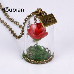 Wholesale Wholesale Dried Roses - Wholesale- 10Pcs lot Glass Dried Flower Wishing Bottle Necklace, Red Rose for women Gift Jewelry of Beauty and the beast