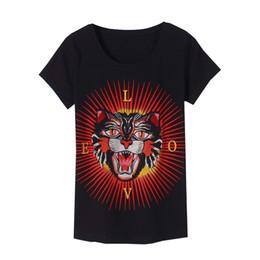 Wholesale Tiger Bells - Wholesale- KEQI Women Summer Short Sleeve Embroidery tiger head letter Print T shirts Fashion slim White black Top Tees Women Designe