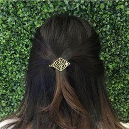 Wholesale Golden Rhombus - Geometirc Women Hair Accessories Golden Hollow Rhombus Hairpins and Clips HG403