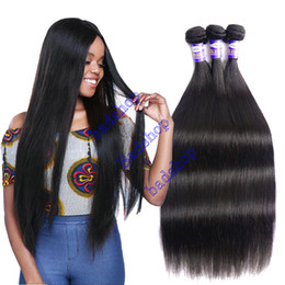 Wholesale Cheap Russian Extensions - Brazilian Virgin Straight Hair Weave Bundles Cheap Peruvian Indian Malaysian straight virgin hair Remy Human Hair Extensions Natural Color