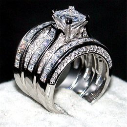 Wholesale White Topaz Rings Sterling Silver - Luxury Jewelry 14KT white gold filled Wedding Ring finger For Women 3-in-1 20ct 7*7mm Princess-cut Topaz Gemstone Rings Set Size 5-10