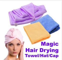 Wholesale Caps Dry Hair - Magic Quick-Dry Microfiber Hair Towel Hair-drying Ponytail Holder Cap Towel Lady Microfiber Hair Towel hat cap E346 High quality