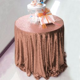 Wholesale Round Wedding Tablecloths - Free Shipping 72inch Round Gold Glitter Sequin Tablecloth Wedding Decoration Table Cover For Banquet Party Home