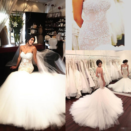 Wholesale Long Slim Lace Wedding Dresses - Gorgeous Berta 2017 Mermaid Wedding Dresses Lace Applique Beaded Sleeveless Backless Bridal Gowns Pearls Sweep Train Slim Fitted Bridal Dres