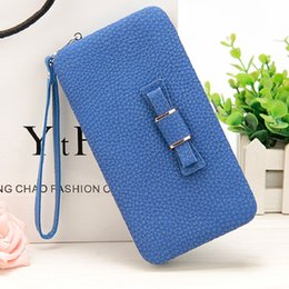 Wholesale Free Pencil Box - New style women's bow letter pencil case wallet Ms. Lunch box style purse Mobile Phone Bags Free Shipping 1330