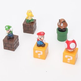 Wholesale Wholesale Mario Bros Toys - 10sets 5pcs set Super Mario Bros Mario Luigi mushroom Goomba Toad Yoshi PVC Action Figures Toy Collectible Model children gift