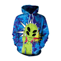 Wholesale Newest Style Mens Hoodies - newest womens mens Alien skull Punk printed rainbow color loose 3D hoodies sweatshirts Harajuku style M-L-XL-XXL 3D002
