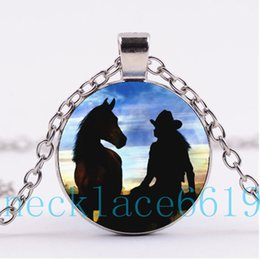 Wholesale Horse Jewelry Charms - 10Pcs Cowgirl Horse Necklace Pendant,Christmas Gift,birthday Gift,Cabochon Glass Necklace,silver black Fashion Jewelry R-1178