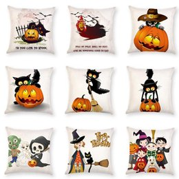 Wholesale Ghost Covers - 9 Styles 45*45cm Halloween Horror Pumpkin Pillow Case Cushion Cover Home Sofa Décor Pillow Case Cartoon Ghost Cushion Cover CCA7741 50pcs