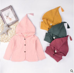 Wholesale Girls Yellow Jacket Coat - Crinkly Girls Coat Outerwear Spring Fall Cotton Kids Tops Tassel Elf Hat Hooded Jackets Coats Kids Clothes Boutique Clothing Outwear 1-5Y