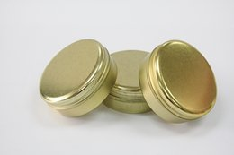 Wholesale Wholesale Candle Jars Free Shipping - Free Shipping Golden Aluminum Container 80g Candle Holder Aluminum Jar 80ml Cream Cans Round Tin