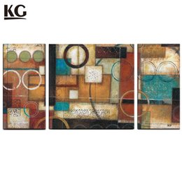 Wholesale Geometry Pictures - KG Geometry Abstract Canvas Art Modern Handmade Paintings Acrylic Unstretcher 3 Pieces Euro Style For Living Room
