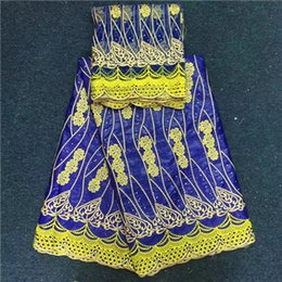 Wholesale African Yellow Lace Fabric - E078-31 Charming African Beaded Bazin riche lace blue mixed yellow embroidery lace fabric(5+2yards) tulle net for party dressing,top quality