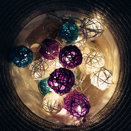 Wholesale wicker boxes - Wholesale- 10 20 Leds 1.6 3m Southeast Asia Hand Knitted Wicker Ball Battery Box Light String For Christmas Wedding Birthday Party Deco